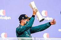 6th June 2021; F1 Grand Prix of Azerbaijan, Race Day;  VETTEL Sebastian (ger), Aston Martin F1 AMR21,  celebrating his podium during the Formula 1 Azerbaijan Grand Prix 2021 at the Baku City Circuit