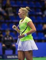 Rotterdam,Netherlands, December 15, 2015,  Topsport Centrum, Lotto NK Tennis, Wheelchair tennis, Kelly Versteeg (NED) reacts<br /> Photo: Tennisimages/Henk Koster