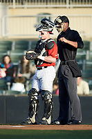 Kannapolis Intimidators catcher Evan Skoug (11) on defense against the Lakewood BlueClaws at Kannapolis Intimidators Stadium on April 5, 2018 in Kannapolis, North Carolina.  The Intimidators defeated the BlueClaws 4-3.  (Brian Westerholt/Four Seam Images)