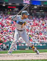 21 June 2015: Pittsburgh Pirates outfielder Starling Marte in action against the Washington Nationals at Nationals Park in Washington, DC. The Nationals defeated the Pirates 9-2 to sweep their 3-game weekend series, and improve their record to 37-33. Mandatory Credit: Ed Wolfstein Photo *** RAW (NEF) Image File Available ***