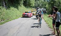 Oliver Naesen (BEL/AG2R-La Mondiale) is one of the last breakaway survivors up the final climb; the Mont du Chat (HC/1504m/8.7km/10.3%)<br /> <br /> Stage 6: Le parc des oiseaux/Villars-Les-Dombes › La Motte-Servolex (147km)<br /> 69th Critérium du Dauphiné 2017