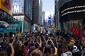 New York New York<br /> June 67, 2020<br /> Times Square<br /> <br /> Demonstrators and Black Lives Matter at Times Square protest the racist attacks by the police against African Americans and other ethnic Americans. The protests were held world wide after 46 year old George Floyd was killed needlessly by police in Minneapolis, Minnesota on May 25, 2020.