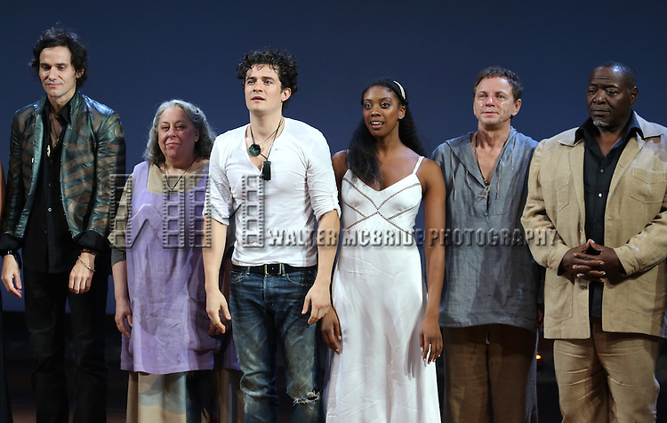 Christian Camargo, Jayne Houdyshell, Orlando Bloom, Condola Rashad, Brent Carver, Chuck Cooper during the Broadway Opening Night Performance Curtain Call for 'Romeo and Juliet' at the Richard Rodgers Theatre in New York City on September 19, 2013.