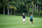 Paul Scholes (left) and Suzann Pettersen during the World Celebrity Pro-Am 2016 Mission Hills China Golf Tournament on 23 October 2016, in Haikou, Hainan province, China. Photo by Marcio Machado / Power Sport Images