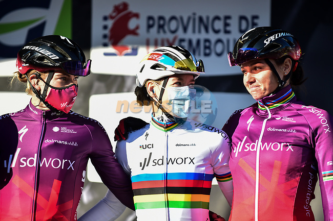 World Champion Anna Van Der Breggen (NED) and Team SD Worx at the team presentations before the start of Liege-Bastogne-Liege Femmes 2021, running 141km from Bastogne to Liege, Belgium. 25th April 2021.  <br /> Picture: A.S.O./Gautier Demouveaux   Cyclefile<br /> <br /> All photos usage must carry mandatory copyright credit (© Cyclefile   A.S.O./Gautier Demouveaux)