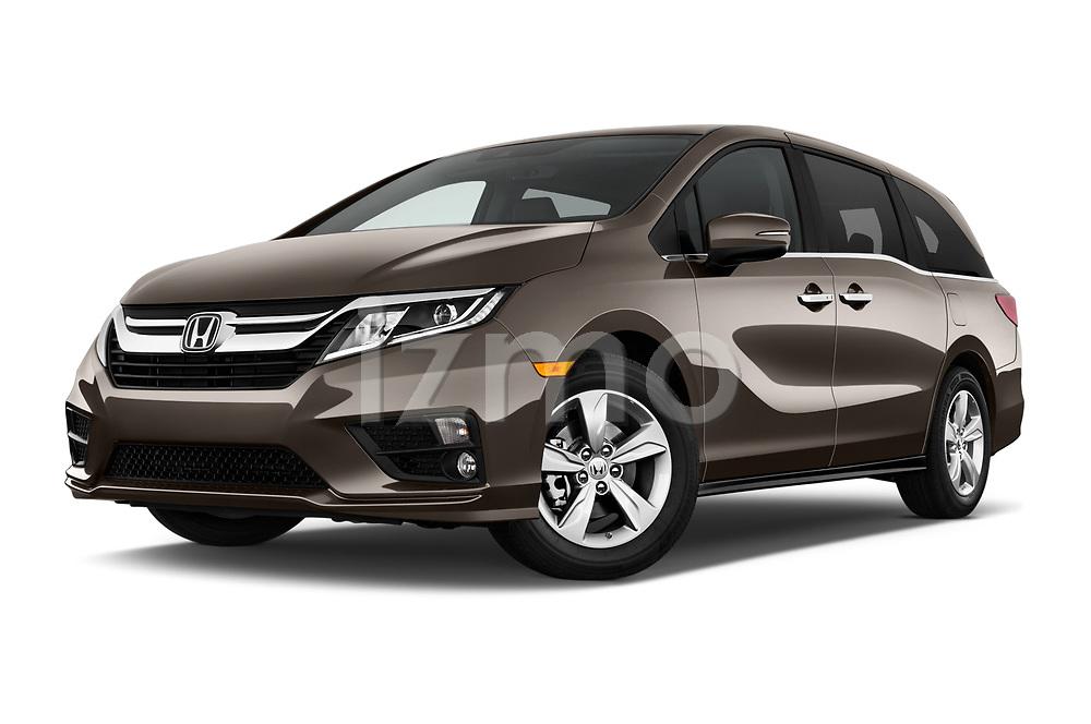 Stock pictures of low aggressive front three quarter view of 2019 Honda Odyssey EX-L 5 Door Minivan Low Aggressive