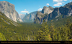Yosemite Valley at Sunset in March, El Capitan, Clouds Rest, Half Dome, Sentinel Rock, Sentinel Dome, Bridalveil Fall and Cathedral Rocks, Discovery View, Tunnel View, Yosemite National Park