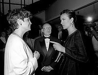 FILE PHOTO -  Liza Frulla, ,Michel Dupuis, Carole Bouquet a<br /> l'ouverture du Festival des Films du Monde, a la Place des arts, le 25 aout 1994.<br /> <br /> PHOTO : Pierre Roussel<br />  - Agence Quebec Presse