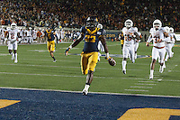 BERKELEY, CA - September 17, 2016: Running back (23) Vic Enwere drops the ball just before crossing the end zone last in the fourth quarter against Texas at Cal Memorial Stadium.