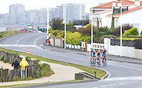28 APR 2012 - LES SABLES D'OLONNE, FRA - Non Stanford (second from right) leads the TCG 79 Parthenay team on the bike during the women's French Grand Prix Series triathlon prologue round in Les Sables d'Olonne, France (PHOTO (C) 2012 NIGEL FARROW)