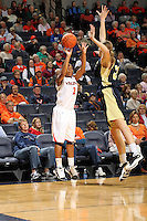 Nov. 14, 2010; Charlottesville, VA, USA; Virginia guard Whitny Edwards (2) shoots the ball in front of Mount St. Mary's forward Tara Lonergan (33) during the game at the John Paul Jones Arena. Virginia won 81-58. Mandatory Credit: Andrew Shurtleff