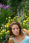 Woman laying amoungst flowers