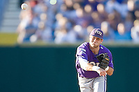 TCU's Featherston, Taylor 2442.jpg against Florida State at the College World Series on June 23rd, 2010 at Rosenblatt Stadium in Omaha, Nebraska.  (Photo by Andrew Woolley / Four Seam Images)