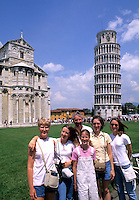 Tourists portrait in front of the famous Leaning Tower of Pisa in Pisa Italy on holiday vacatio