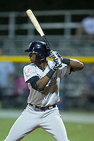 Kendall Coleman (21) of the Pulaski Yankees at bat against the Burlington Royals at Burlington Athletic Park on August 6, 2015 in Burlington, North Carolina.  The Royals defeated the Yankees 1-0. (Brian Westerholt/Four Seam Images)