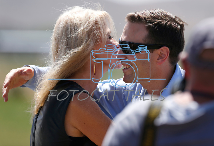 Kellyanne Conway hugs Nevada Attorney General Adam Laxalt following her speech at the 4th annual Basque Fry in Gardnerville, Nev., on Saturday, Aug. 25, 2018. Hosted by the Morning in Nevada PAC, the event is a fundraiser for conservative candidates and issues and includes traditional Basque dishes like deep-fried lamb testicles.(Cathleen Allison/Las Vegas Review Journal)