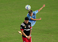 WASHINGTON, DC - SEPTEMBER 06: Jesus Medina #19 of New York City FC takes a shot during a game between New York City FC and D.C. United at Audi Field on September 06, 2020 in Washington, DC.