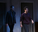 """David Furr and Brandon Uranowitz during the Broadway Opening Night Curtain Call for Landford Wilson's """"Burn This""""  at Hudson Theatre on April 15, 2019 in New York City."""