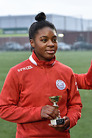 """Esther Buabadi (24) of Zulte-Waregem pictured with her trophee """"Player of the month december"""" during a female soccer game between SV Zulte - Waregem and Sporting Charleroi on the eleventh matchday of the 2020 - 2021 season of Belgian Scooore Womens Super League , saturday 23 th of January 2021  in Zulte , Belgium . PHOTO SPORTPIX.BE   SPP   DIRK VUYLSTEKE"""