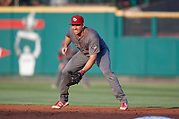 Lehigh Valley IronPigs first baseman Matt McBride (30) during a game against the Rochester Red Wings on June 30, 2018 at Frontier Field in Rochester, New York.  Lehigh Valley defeated Rochester 6-2.  (Mike Janes/Four Seam Images)