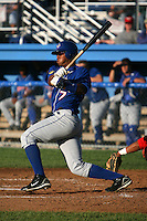 July 4, 2009:  Jimmy Gonzalez of the Auburn Doubledays at bat during a game at Dwyer Stadium in Batavia, NY.  The Doubledays are the NY-Penn League Short-Season Class-A affiliate of the Toronto Blue Jays.  Photo by:  Mike Janes/Four Seam Images