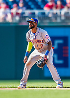 30 April 2017: New York Mets infielder Jose Reyes in action during the 8th inning against the Washington Nationals at Nationals Park in Washington, DC. The Nationals defeated the Mets 23-5 in the third game of their weekend series. Mandatory Credit: Ed Wolfstein Photo *** RAW (NEF) Image File Available ***