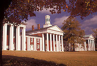 AJ3131, university, college, Virginia, Lexington, Historic white colonade building on the campus of Washington and Lee University in the autumn in Lexington in the state of Virginia.