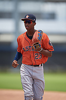 GCL Astros Yefri Carrillo (23) during a Gulf Coast League game against the GCL Nationals on August 9, 2019 at FITTEAM Ballpark of the Palm Beaches training complex in Palm Beach, Florida.  GCL Nationals defeated the GCL Astros 8-2.  (Mike Janes/Four Seam Images)