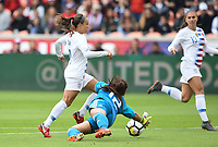 Houston, TX - Sunday April 8, 2018: Mallory Pugh scores a goal during an International friendly match versus the women's National teams of the United States (USA) and Mexico (MEX) at BBVA Compass Stadium.