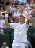 27-6-09, England, London, Wimbledon, Tomas Berdych in jubilation he defeats Davydenko