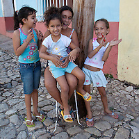 Cuba, Trinidad.  Little Girls Talking.