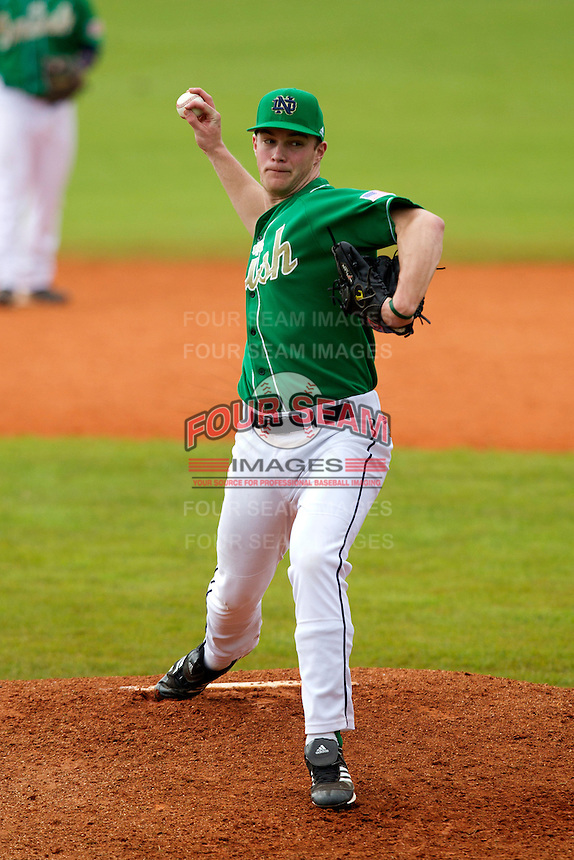 Notre Dame Fighting Irish pitcher Patrick Veerkamp #24 delivers a pitch during a game against the Purdue Boilermakers at the Big Ten/Big East Challenge at Al Lang Stadium on February 19, 2012 in St. Petersburg, Florida.  (Mike Janes/Four Seam Images)