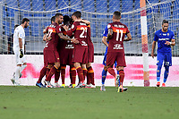 Jordan Veretout of AS Roma celebrates with team mates after scoring on penalty the goal of 1-0 during the Serie A football match between AS Roma and ACF Fiorentina at stadio Olimpico in Roma (Italy), July 26th, 2020. Play resumes behind closed doors following the outbreak of the coronavirus disease. <br /> Photo Antonietta Baldassarre / Insidefoto