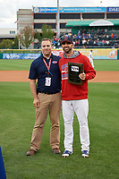 Buffalo Bisons Jason Leblebijian (9) is presented with the teams Most Inspirational Player Award before a game against the Pawtucket Red Sox on August 31, 2017 at Coca-Cola Field in Buffalo, New York.  Buffalo defeated Pawtucket 4-2.  (Mike Janes/Four Seam Images)