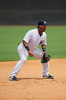 GCL Yankees East third baseman Daniel Barrios (28) during the first game of a doubleheader against the GCL Blue Jays on July 24, 2017 at the Yankees Minor League Complex in Tampa, Florida.  GCL Blue Jays defeated the GCL Yankees East 6-3 in a game that originally started on July 8th.  (Mike Janes/Four Seam Images)