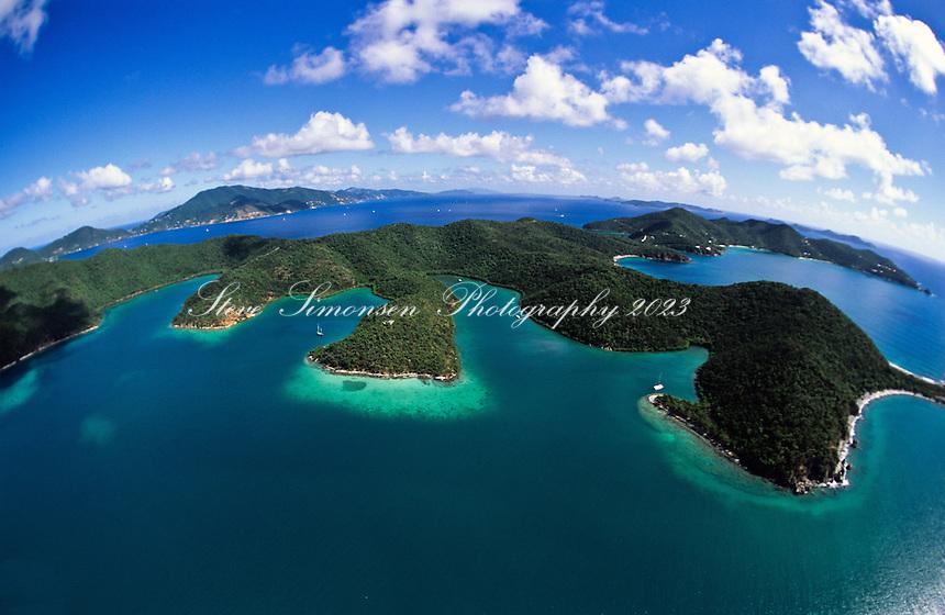 Aerial view of St.  John<br /> Showing Hurricane Hole<br /> U.S. Virgin Islands