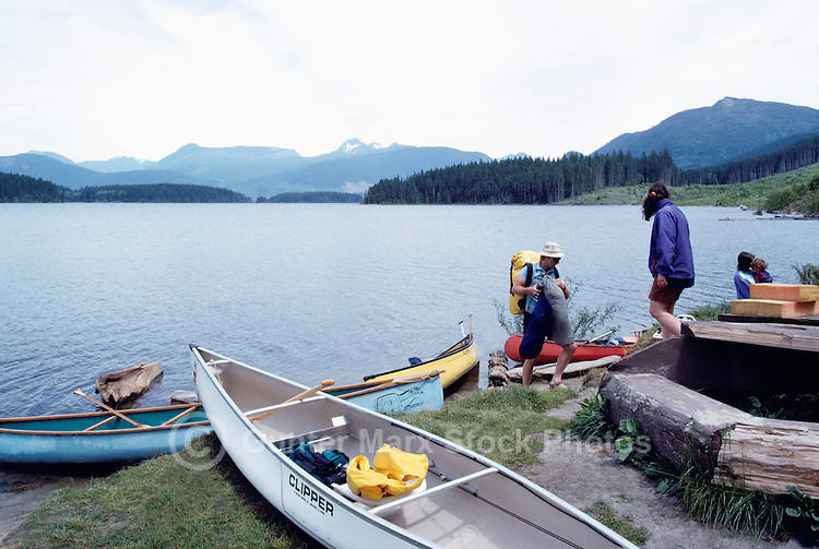 Canoeing on Lois Lake, on the Sunshine Coast, Southwestern BC, British Columbia, Canada