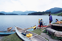 Canoeing on Lois Lake, on the Sunshine Coast, Southwestern BC, British Columbia, Canada