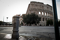 """Colosseum: Closed.<br /> <br /> Rome, 12/03/2020. Documenting Rome under the Italian Government lockdown for the Outbreak of the Coronavirus (SARS-CoV-2 - COVID-19) in Italy. On the evening of the 11 March 2020, the Italian Prime Minister, Giuseppe Conte, signed the March 11th Decree Law """"Step 4 Consolidation of 1 single Protection Zone for the entire national territory"""" (1.). The further urgent measures were taken """"in order to counter and contain the spread of the COVID-19 virus"""" on the same day when the WHO (World Health Organization, OMS in Italian) declared the coronavirus COVID-19 as a pandemic (2.).<br /> ISTAT (Italian Institute of Statistics) estimates that in Italy there are 50,724 homeless people. In Rome, around 20,000 people in fragile condition have asked for support. Moreover, there are 40,000 people who live in a state of housing emergency in Rome's municipality.<br /> March 11th Decree Law (1.): «[…] Retail commercial activities are suspended, with the exception of the food and basic necessities activities […] Newsagents, tobacconists, pharmacies and parapharmacies remain open. In any case, the interpersonal safety distance of one meter must be guaranteed. The activities of catering services (including bars, pubs, restaurants, ice cream shops, patisseries) are suspended […] Banking, financial and insurance services as well as the agricultural, livestock and agri-food processing sector, including the supply chains that supply goods and services, are guaranteed, […] The President of the Region can arrange the programming of the service provided by local public transport companies […]».<br /> Updates: on the 12.03.20 (6:00PM) in Italy there 14.955 positive cases; 1,439 patients have recovered; 1,266 died.<br /> <br /> Footnotes & Links:<br /> Info about COVID-19 in Italy: http://bit.do/fzRVu (ITA) - http://bit.do/fzRV5 (ENG)<br /> 1. March 11th Decree Law http://bit.do/fzREX (ITA) - http://bit.do/fzRFz (ENG)<br /> 2. http://bit.do/fzRKm"""