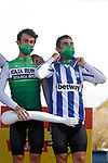 Caja Rural-Seguros RGA at sign on before the start of Stage 7 of the Vuelta Espana 2020 running 159.7km from Vitoria-Gasteiz to Villanueva de Valdegovia, Spain. 27th October 2020.  <br /> Picture: Luis Angel Gomez/PhotoSportGomez | Cyclefile<br /> <br /> All photos usage must carry mandatory copyright credit (© Cyclefile | Luis Angel Gomez/PhotoSportGomez)