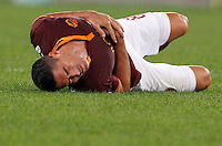 Calcio, Serie A: Roma vs ChievoVerona. Roma, stadio Olimpico, 31 ottobre 2013.<br /> AS Roma forward Marco Borriello reacts after being injured during the Italian Serie A football match between AS Roma and ChievoVerona at Rome's Olympic stadium, 31 October 2013.<br /> UPDATE IMAGES PRESS/Riccardo De Luca