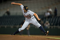 Mesa Solar Sox relief pitcher John Schreiber (36), of the Detroit Tigers organization, delivers a pitch during an Arizona Fall League game against the Scottsdale Scorpions on October 9, 2018 at Scottsdale Stadium in Scottsdale, Arizona. The Solar Sox defeated the Scorpions 4-3. (Zachary Lucy/Four Seam Images)