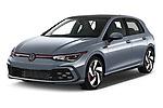 2021 Volkswagen Golf GTI 5 Door Hatchback Angular Front automotive stock photos of front three quarter view