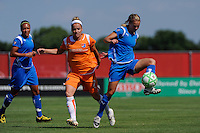 Heather Mitts (2) of the Boston Breakers is marked by Kelly Parker (7) of Sky Blue FC. Sky Blue FC defeated the Boston Breakers 1-0 during a Women's Professional Soccer match at Yurcak Field in Piscataway, NJ, on July 4, 2009.
