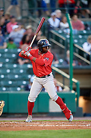 Pawtucket Red Sox center fielder Rusney Castillo (38) at bat during a game against the Rochester Red Wings on May 19, 2018 at Frontier Field in Rochester, New York.  Rochester defeated Pawtucket 2-1.  (Mike Janes/Four Seam Images)