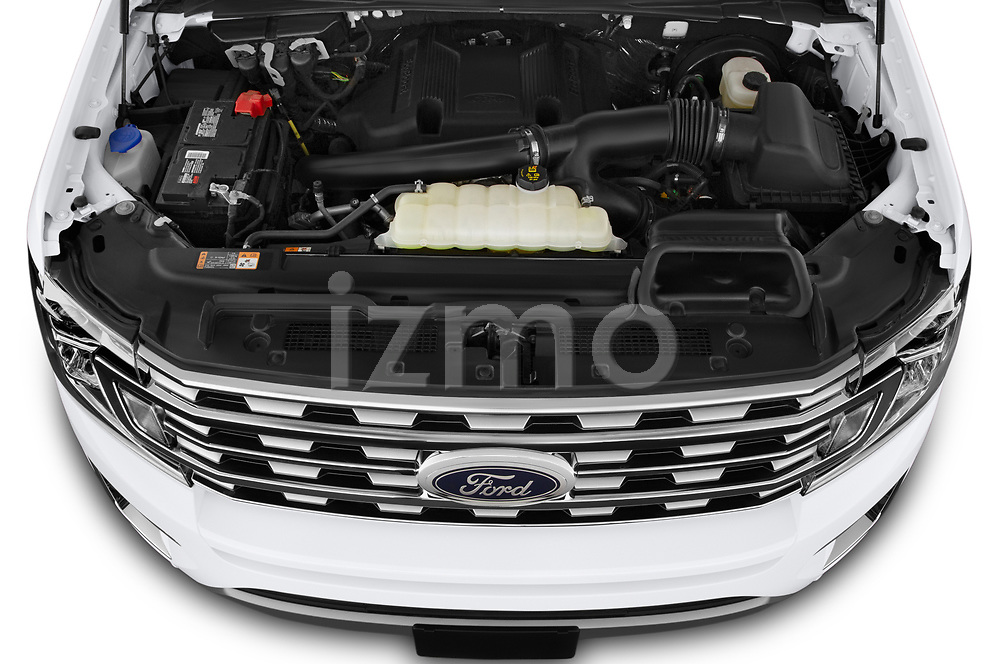 Car Stock 2020 Ford Expedition Limited-MAX 5 Door SUV Engine  high angle detail view