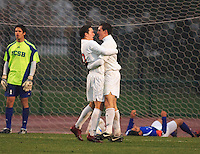 Eric Edwards (#19 OSU) and Scott Marguglio (#11 OSU) celebrate after making the winning goal in double overtime against the University of California Santa Barbara's defending national champions men soccer team during the 3rd round of the 2007 NCAA Collage Cup.
