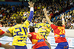 Spain's Carlos Molina (c-l) and Viran Morros de Argila (r) and Bosnia Herzegovina's Vladimir Vranjes (l) and Nikola Prce during 2018 Men's European Championship Qualification 2 match. November 2,2016. (ALTERPHOTOS/Acero)