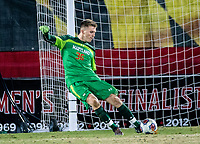 COLLEGE PARK, MD - NOVEMBER 15: Niklas Neumann #36 of Maryland sends the ball upfield during a game between Indiana University and University of Maryland at Ludwig Field on November 15, 2019 in College Park, Maryland.