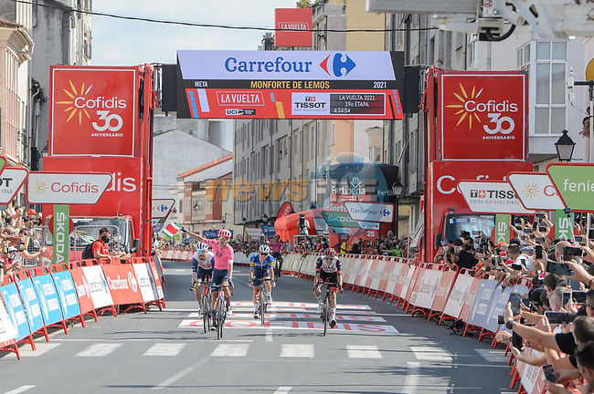 Magnus Cort Nielsen (DEN) EF Education-Nippo wins Stage 19 of La Vuelta d'Espana 2021, running 191.2km from Tapia de Casariego to Monforte de Lemos, Spain. 3rd September 2021.    <br /> Picture: Cxcling | Cyclefile<br /> <br /> All photos usage must carry mandatory copyright credit (© Cyclefile | Cxcling)